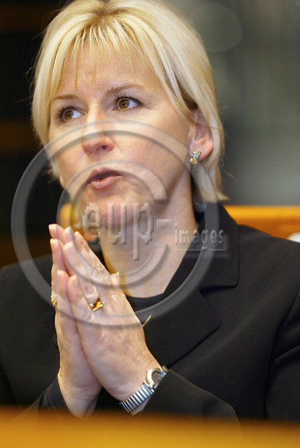 BRUSSELS - BELGIUM - 27 February 2002--The Swedish Commmissioner for Environment Mrs. Margot WALLSTR?M (Wallstrom, Wallstroem) in the EU-Parliament. --PHOTO: EUP-IMAGES / JUHA ROININEN