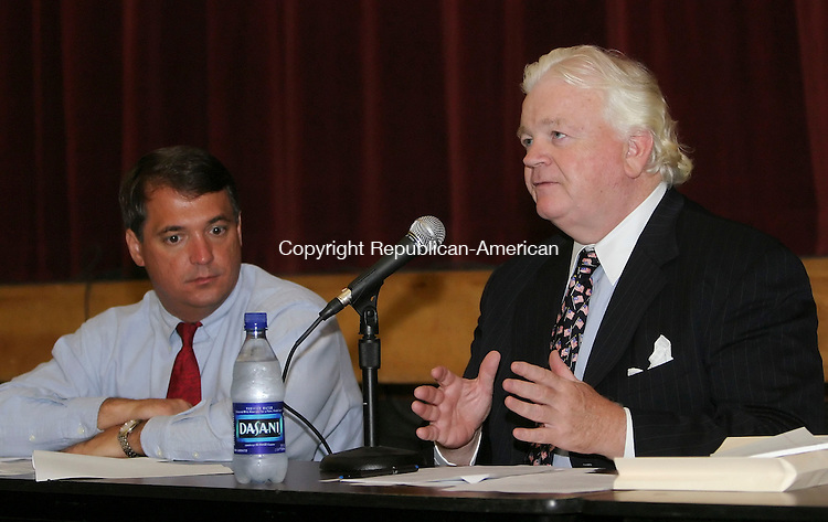 NAUGATUCK,  CT 12 October 2005 -101205BZ10- Naugatuck Mayor Ron San Angelo , left, and Fairfield developer Alexius Conroy answers questions about the proposed Renaissance Place development during a public meeting at Naugatuck High School Wednesday night.<br />  Jamison C. Bazinet / Republican-American