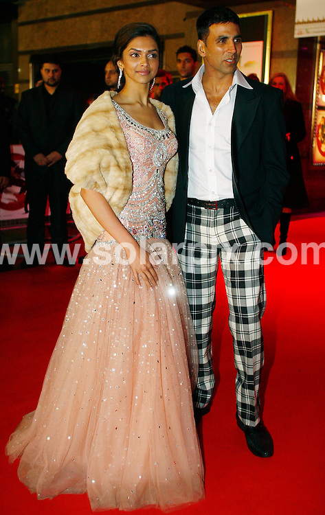 **ALL ROUND PICTURES FROM SOLARPIX.COM**.**WORLDWIDE SYNDICATION RIGHTS**.arrivals for the European Film Premiere of in Chandni Chowk to China, Leicester Square, London, UK. January 12, 2009...This pic: Deepika Padukone and Akshay Kumar..JOB REF: 8296 DBL     DATE: 12_01_2009.**MUST CREDIT SOLARPIX.COM OR DOUBLE FEE WILL BE CHARGED* *ONLINE USAGE FEE £50.00 PER PICTURE - NOTIFICATION OF USAGE TO PHOTO@SOLARPIX.COM*