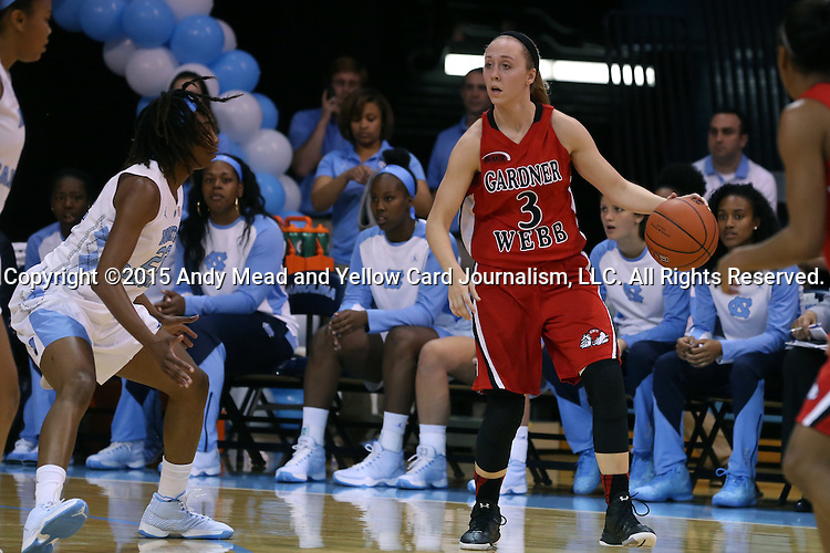 13 November 2015: Gardner-Webb's Tierra Huntsman (3) and North Carolina's N'Dea Bryant (22). The University of North Carolina Tar Heels hosted the Gardner-Webb University Runnin' Bulldogs at Carmichael Arena in Chapel Hill, North Carolina in a 2015-16 NCAA Division I Women's Basketball game. Gardner-Webb won the game 66-65.