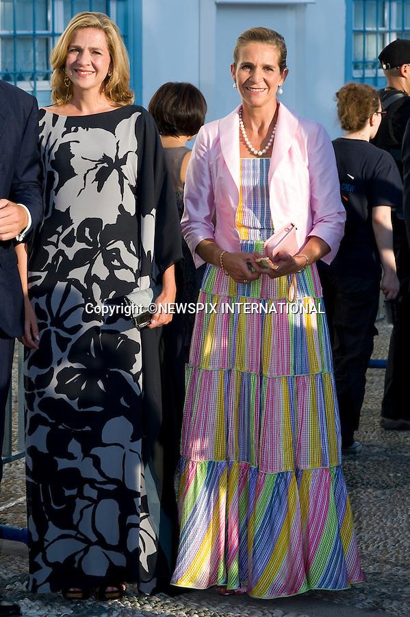 "Princess Elena and Infanta Cristina_.The Wedding of Prince Nikolaos and Tatiana Blatnik attended by many members of European Royalty at St Nikolaos Church on the Island of Spetses_Grecce_24/08/2010.Mandatory Credit Photo: ©DIAS-NEWSPIX INTERNATIONAL..**ALL FEES PAYABLE TO: ""NEWSPIX INTERNATIONAL""**..IMMEDIATE CONFIRMATION OF USAGE REQUIRED:.Newspix International, 31 Chinnery Hill, Bishop's Stortford, ENGLAND CM23 3PS.Tel:+441279 324672  ; Fax: +441279656877.Mobile:  07775681153.e-mail: info@newspixinternational.co.uk"