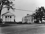 A view of Middlebury Town Hall and Congregational Church after reconstruction following a  disastrous fire in 1935. Photo circa 1937.