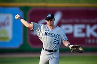 West Michigan Whitecaps left fielder Cam Gibson (23) warms up in the outfield between innings during a game against the Peoria Chiefs on May 8, 2017 at Dozer Park in Peoria, Illinois.  West Michigan defeated Peoria 7-2.  (Mike Janes/Four Seam Images)