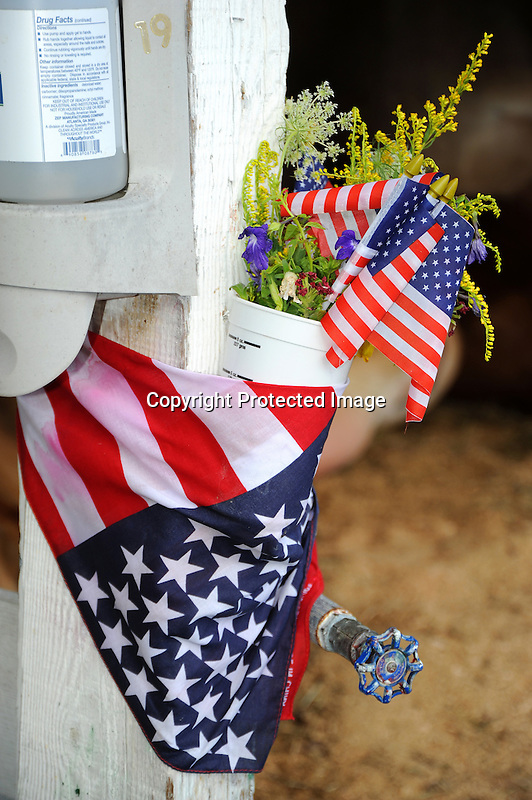 American spirit displayed at the water spigot at Cheshire Fair in Swanzey, New Hampshire USA