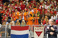 Switserland, Genève, September 18, 2015, Tennis,   Davis Cup, Switserland-Netherlands, supporters<br /> Photo: Tennisimages/Henk Koster