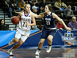 SIOUX FALLS, SD - MARCH 19: Jodi Johnson #21 from Ashland drives to the basket against Lexi Prevost #21 from Montana State University Billings during their quarterfinal game at the 2018 Elite Eight Women's NCAA DII Basketball Championship at the Sanford Pentagon in Sioux Falls, SD. (Photo by Dave Eggen/Inertia)