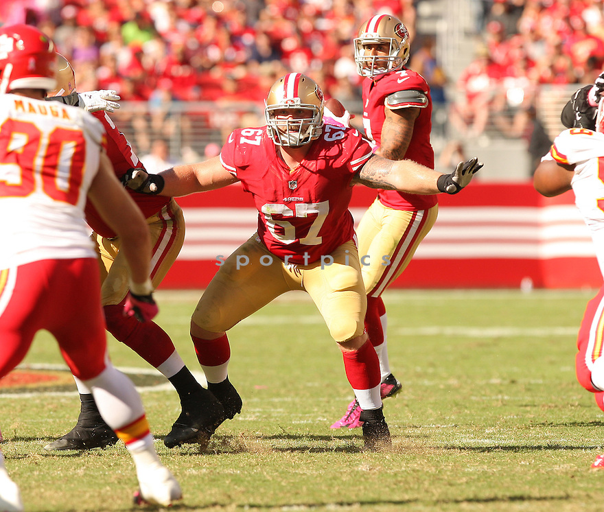 San Francisco 49ers Daniel Kilgore (67) during a game against the Kansas City Chiefs on October 5, 2014 at Levi's Stadium in Santa Clara, CA. the 49ers beat the Chiefs 22-17.