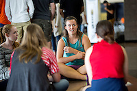NWA Democrat-Gazette/JASON IVESTER <br /> Rogers Heritage senior Autumn Wilson participates in a group discussion on Wednesday, Sept. 9, 2015, during at Rogers Heritage High School. Student leaders from several area high schools came to the Harbor Back to School Tour lead by keynote speaker, Mike Smith.