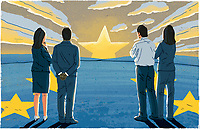 People standing on European Union flag watching missing star as setting sun