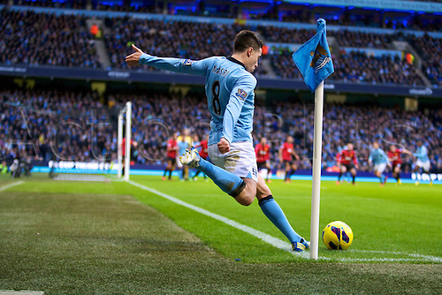 09.12.2012 Manchester, England. Manchester City's French midfielder Samir Nasri in action during the Premier League game between Manchester City and Manchester United from the Etihad Stadium. Manchester United scored a late winner to take the game 2-3.