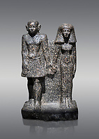 Ancient Egyptian bust of a man and women, serpentine, Middle Kingdom, late 12th-13th Dynasty (1800-1700 BC). Egyptian Museum, Turin. Grey background<br /> <br /> An example of Egyptian private statues, probably low ranking officials, inv 1222 &1233
