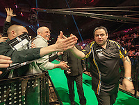 09.04.2015. Sheffield, England. Betway Premier League Darts. Matchday 10.  Adrian Lewis [ENG] arrives on the stage for his game with James Wade [ENG]
