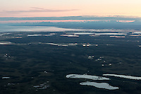 Flying into Anchorage, Alaska, just before midnight. July 2014.