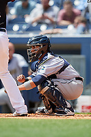 New Orleans Baby Cakes catcher Ramon Cabrera (38) awaits the pitch during a game against the Nashville Sounds on May 1, 2017 at First Tennessee Park in Nashville, Tennessee.  Nashville defeated New Orleans 6-4.  (Mike Janes/Four Seam Images)
