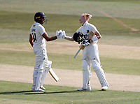 Jack Leaning (L) congratulates Jordan Cox (R) on his hundred for Kent during Kent CCC vs Sussex CCC, Bob Willis Trophy Cricket at The Spitfire Ground on 9th August 2020