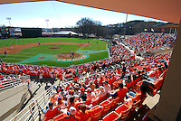 A large crowd watched the opening game of the 2008 season between the Mercer Bears and Clemson Tigers at Doug Kingsmore Stadium in Clemson, S.C. Photo by:  Tom Priddy/Four Seam Images