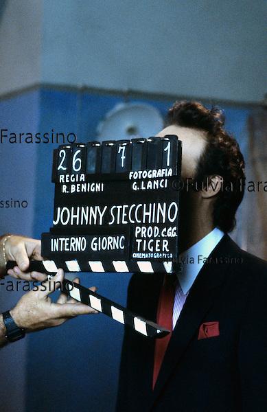 Roma, Cinecittà,1991  Roberto Benigni sul set del film Johnny Stecchino, Roma, Cinecittà, 1991, Roberto Benigni on Johnny Stecchino movie set