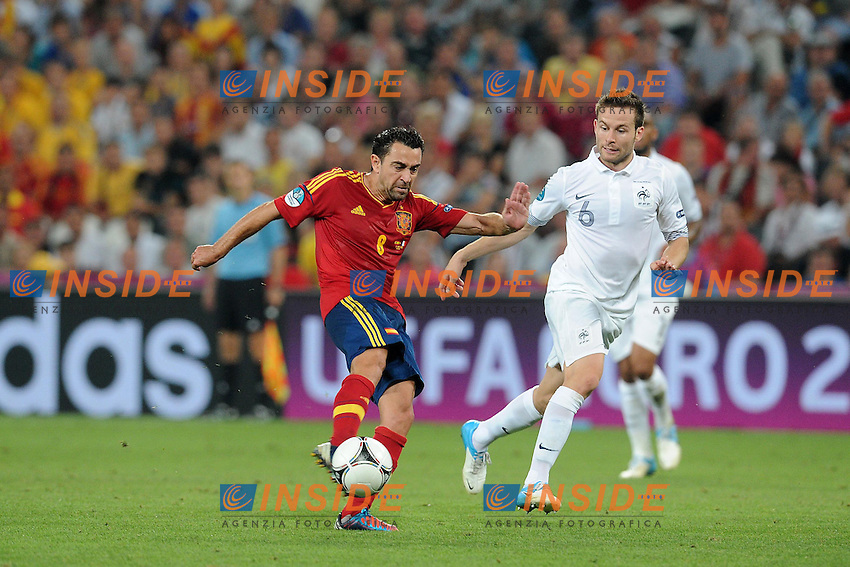 Yohan Cabaye (France) Xavi (Espagne).Donetsk 23/06/2012 Stadio - Donbass Arena Di Donetsk .Football calcio Europeo 2012 Spagna Vs Francia.Football Calcio Euro 2012.Foto Insidefoto/ N. Le Gouic / FEP / Panoramic.ITALY ONLY...