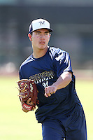 Kodi Medeiros #43 of the AZL Brewers works out at the Maryvale Baseball Complex on July 7, 2014 in Phoenix, Arizona. (Larry Goren/Four Seam Images)