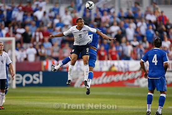 Sandy - USA forward Charlie Davies and El Salvador midfielder Ramon Sanchez leap for the ball. USA vs. El Salvadar FIFA World Cup Qualifier Soccer Saturday, September 5 2009 at Rio Tinto Stadium. .