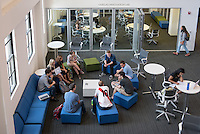 Occidental College students sit in a circle and talk in the McKinnon Center for Global Affairs of Johnson Hall, Oct. 15, 2015.<br /> (Photo by Marc Campos, Occidental College Photographer)