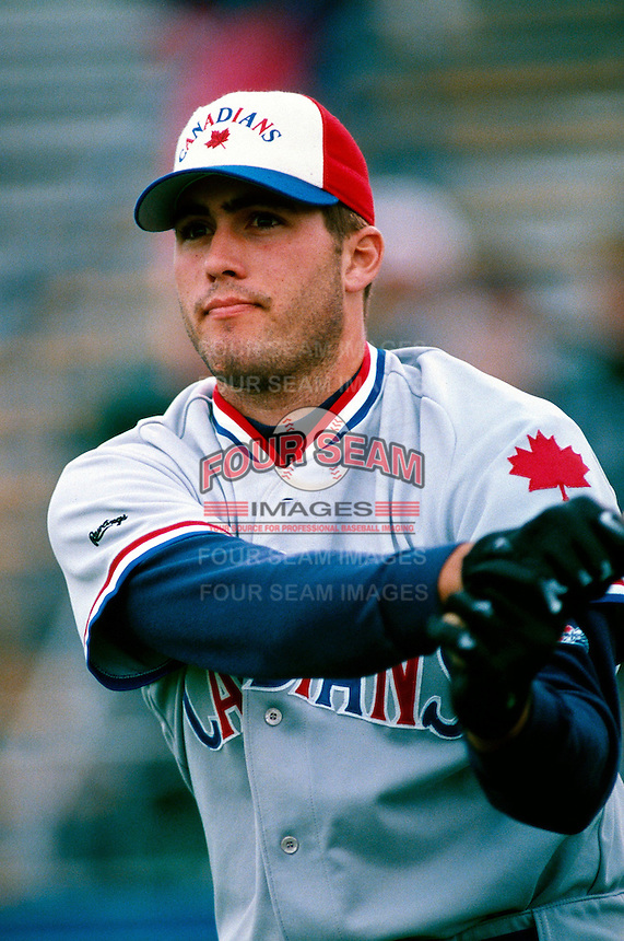 Troy Glaus of the Vancouver Canadians participates in a minor league baseball game during the 1998 season at Beiden Field in Fresno, California. (Larry Goren/Four Seam Images)
