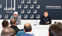 Neil Ahern (European Tour) alongside Rory McIlroy (NIR) during the Media Interviews before the 2014 Alfred Dunhill Links Championship, The Old Course, St Andrews, Fife, Scotland. Picture:  David Lloyd / www.golffile.ie
