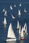 Seattle, Lake Union, sailboats racing, Duck Dodge race, race for all classes every summer on tuesday night in this urban lake, Washington State, Pacific Northwest, USA, Rounding the mark, .