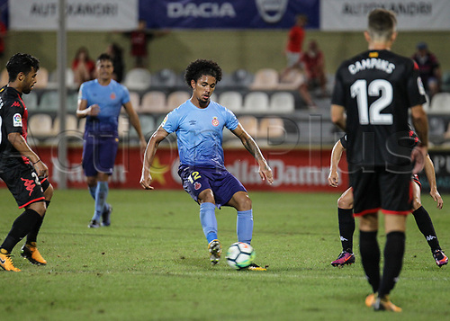 August 12th 2017, Reus, Catalonia, Spain; Pre-season friendly football, Reus Deportiu versus Girona; Douglas Luiz making a pass under pressure