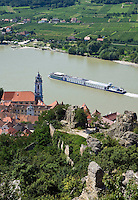 Austria, Lower Austria, UNESCO World Heritage Wachau, view from ruin Duernstein towards wine town Duernstein with the blue-white tower of the Collegiate church