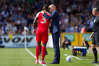 Fleetwood Town manager Uwe Rosler speaks to Amari'i Bell of Fleetwood Town during the Sky Bet League 1 match between Bristol Rovers and Fleetwood Town at the Memorial Stadium, Bristol, England on 26 August 2017. Photo by Mark  Hawkins.