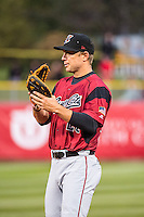 John Bowker (23) of the Sacramento River Cats on defense against the Salt Lake Bees in Pacific Coast League action at Smith's Ballpark on April 17, 2015 in Salt Lake City, Utah.  (Stephen Smith/Four Seam Images)