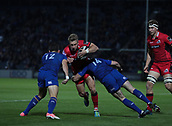 29th September 2017, RDS Arena, Dublin, Ireland; Guinness Pro14 Rugby, Leinster Rugby versus Edinburgh; Tom Brown (Edinburgh) is tackled by Noel Reid (Leinster) and Fergus McFadden (Leinster)