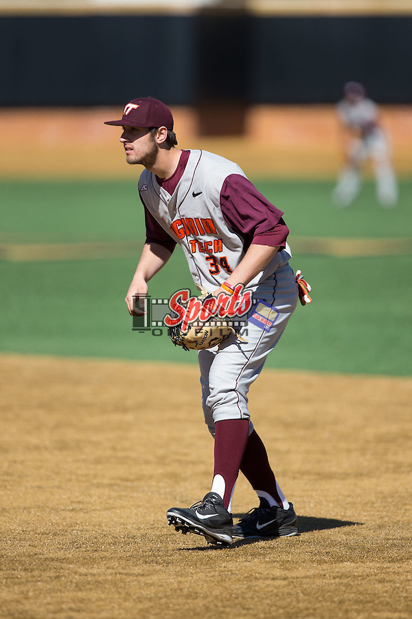 Virginia Tech Hokies first baseman Brendon Hayden (34) on defense against the Wake Forest Demon Deacons at Wake Forest Baseball Park on March 7, 2015 in Winston-Salem, North Carolina.  The Hokies defeated the Demon Deacons 12-7 in game one of a double-header.   (Brian Westerholt/Sports On Film)