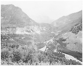 View of RGS High Line trestles and Butterfly trestle.  Butterfly mine and trestle are at right center.<br /> RGS  Ophir Loop, CO  Taken by Beam, George L. - ca 1923