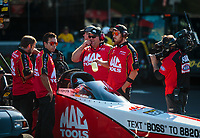 Jun 15, 2018; Bristol, TN, USA; Crew members for NHRA top fuel driver Doug Kalitta during qualifying for the Thunder Valley Nationals at Bristol Dragway. Mandatory Credit: Mark J. Rebilas-USA TODAY Sports