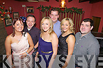 Friends ring in the new year together in Jack O'Rourke's Bar Abbeyfeale last Friday night, pictured l-r:Christina Ahern, Noel Brosnahan, Linda Broderick, Paul Donovan, Ailish Broderick and Liam Collins.