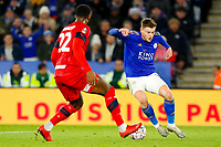 4th January 2020; King Power Stadium, Leicester, Midlands, England; English FA Cup Football, Leicester City versus Wigan Athletic; Harvey Barnes of Leicester City beats Chey Dunkley of Wigan Athletic on his way to scoring after 39 minutes (2-0) - Strictly Editorial Use Only. No use with unauthorized audio, video, data, fixture lists, club/league logos or 'live' services. Online in-match use limited to 120 images, no video emulation. No use in betting, games or single club/league/player publications