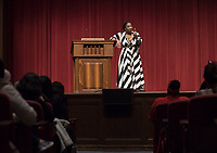 An Evening with Tarana Burke, founder of the #MeToo movement & social justice activist, Thorne Hall, Feb. 26, 2018.<br /> Tarana Burke shares the heartbreaking story behind the genesis of the viral 'me too' movement, and gives strength and healing to those who have experienced sexual trauma or harassment. The simple yet courageous #metoo hashtag campaign amplified by actress Alyssa Milano, has emerged as a rallying cry for people everywhere who have survived sexual assault and sexual harassment – and Tarana's powerful, poignant story as creator of what is now an international movement that supports survivors will move, uplift, and inspire you.<br /> Sponsored by: Residential Education & Housing Services, Project SAFE, Office of Community Engagement, Intercultural Community Center, Chief Diversity Officer & Remsen Bird.<br /> (Photo by Marc Campos, Occidental College Photographer)