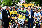 Race leader Yellow Jersey Chris Froome (GBR) Team Sky, Green Jersey Marcel Kittel (GER) Quick-Step Floors and White Jersey Simon Yates (GBR) Orica-Scott lined up for the start of Stage 10 of the 104th edition of the Tour de France 2017, running 178km from Perigueux to Bergerac, France. 11th July 2017.<br /> Picture: ASO/Alex Broadway | Cyclefile<br /> <br /> <br /> All photos usage must carry mandatory copyright credit (&copy; Cyclefile | ASO/Alex Broadway)