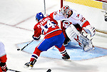 31 March 2010: Montreal Canadiens' center Tomas Plekanec is unable to score on Carolina Hurricanes goaltender Cam Ward during the second period at the Bell Centre in Montreal, Quebec, Canada. The Hurricanes defeated the Canadiens 2-1 in their last meeting of the regular season. Mandatory Credit: Ed Wolfstein Photo