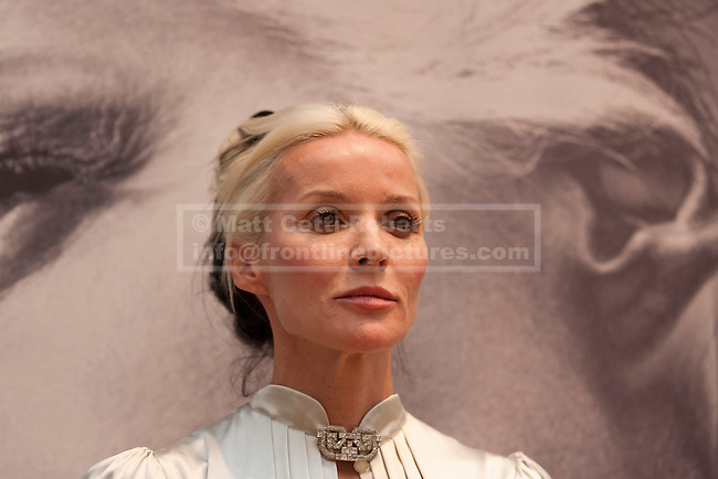 21/06/2012. LONDON, UK. Daphne Guinness is seen ahead of an auction at Christies South Kensington Auction House in London today (21/0612).  The auction, held in aid of The Isabella Blow Foundation, features 102 lots of shoes, clothes and photographs from Daphne Guinness's private collection and is expected to realise in the region of £100,000 when it takes place on the evening of the 27th of June. Photo credit: Matt Cetti-Roberts