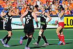 The Hague, Netherlands, June 07: Anita Punt #32 of New Zealand celebrates after Sophie Cocks #17 of New Zealand scored during the field hockey group match (Men - Group A) between England and Australia on June 7, 2014 during the World Cup 2014 at Kyocera Stadium in The Hague, Netherlands. Final score 1-4 (0-1) (Photo by Dirk Markgraf / www.265-images.com) *** Local caption *** Sophie Cocks #17 of New Zealand, Katie Glynn #5 of New Zealand, Anita Punt #32 of New Zealand, Mazuki Arai #10 of Japan