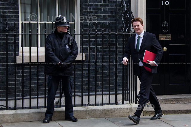 Danny Alexander MP (Chief Secretary to the Treasury).<br /> <br /> London, 18/03/2015. British Government's weekly Cabinet meeting held at 10 Downing Street before the Chancellor's announcement of the Budget for the fiscal year 2015.