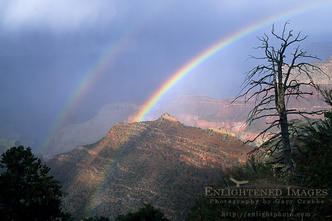 Double Rainbow over the Grand Canyon from Grandview Point, South Rim Grand Canyon National Park, Arizona