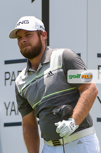 Tyrrell Hatton (ENG) watches his tee shot on 1 during round 1 of the 2019 Charles Schwab Challenge, Colonial Country Club, Ft. Worth, Texas,  USA. 5/23/2019.<br /> Picture: Golffile | Ken Murray<br /> <br /> All photo usage must carry mandatory copyright credit (© Golffile | Ken Murray)