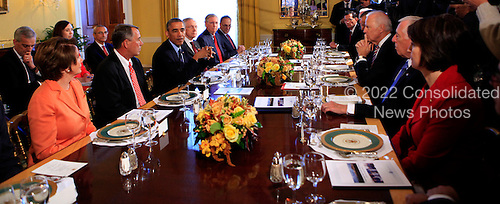 United States President Barack Obama meets with bipartisian congressional leadership in the Old Family Dining Room of the White House in Washington, D.C. on Friday, November 7, 2014. From left to right: U.S. House Minority Leader Nancy Pelosi (Democrat of California), Speaker of the U.S. House John Boehner (Republican of Ohio), President Obama, current U.S. Senate Majority Leader Harry Reid (Democrat of Nevada), future U.S. Senate Majority Leader Mitch McConnell (Republican of Kentucky), U.S. Senator Charles Schumer (Democrat of New York), U.S. Senator John Barrasso (Republican of Wyoming), U.S. Vice President Joe Biden, and U.S. House Democratic Whip Steny Hoyer (Democrat of Maryland).  Also visible at left are Denis McDonough, Assistant to the President and Chief of Staff, Katie Fallon, Assistant to the President and Director of Legislative Affairs, and John Podesta, Counselor to the President.<br /> Credit: Dennis Brack / Pool via CNP