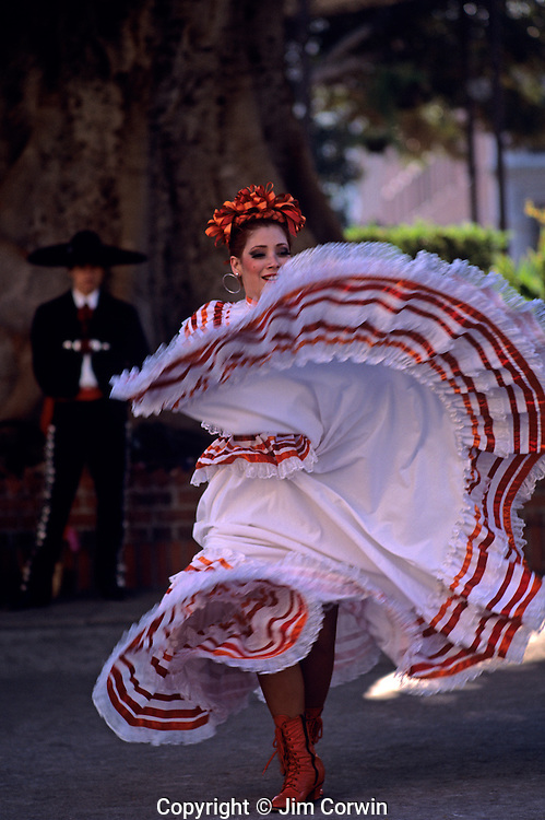 Mexican dancer performs at Historic Olvera Street downtown Los Angeles, California USA...