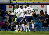 Adebayo Akinfenwa of Wycombe Wanderers celebrates the winning goal during the FA Cup 1st round match between Portsmouth and Wycombe Wanderers at Fratton Park, Portsmouth, England on the 5th November 2016. Photo by Liam McAvoy.