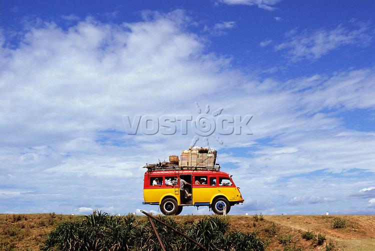 Minibus driving along Highway 1